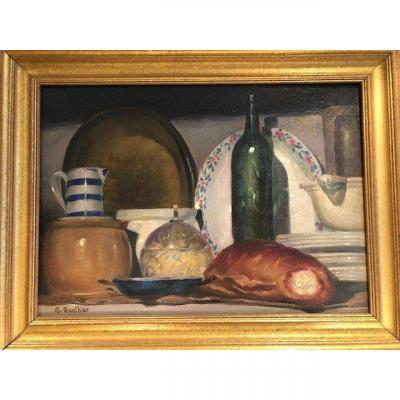 Oil On Canvas Still Life With A Loaf Of Bread Signed Georges Gonthier