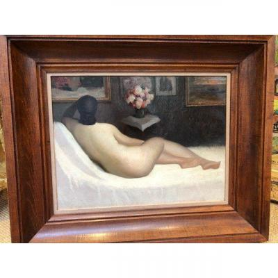 """Oil On Canvas """"nude On A Sofa"""" Signed Janschek"""