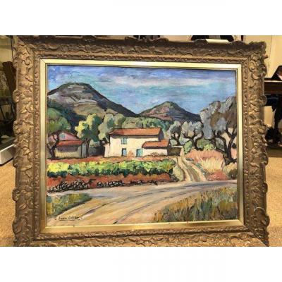 """OIL ON CANVAS """"PROVENCAL LANDSCAPE"""" SIGNED BOTTOM LEFT JEAN JULIEN. BORN IN MARSEILLE ON MAY 12TH 1888 HE DIED IN SANARY SUR MER ON SEPTEMBER 5TH 1974. HE GRADUATED FROM L'ECOLE NATIONALE DES BEAUX ARTS DE PARIS. HE EXHIBITED AT THE SALON DES ARTISTES FRANCAIS IN PARIS. HE WORKED WITH FERNAND CORMON."""