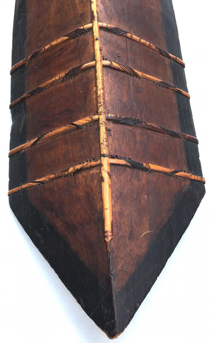 Iban Shield Wood And Rattan, Dayak. Kalimantan Borneo. Early 20th Century.-photo-3