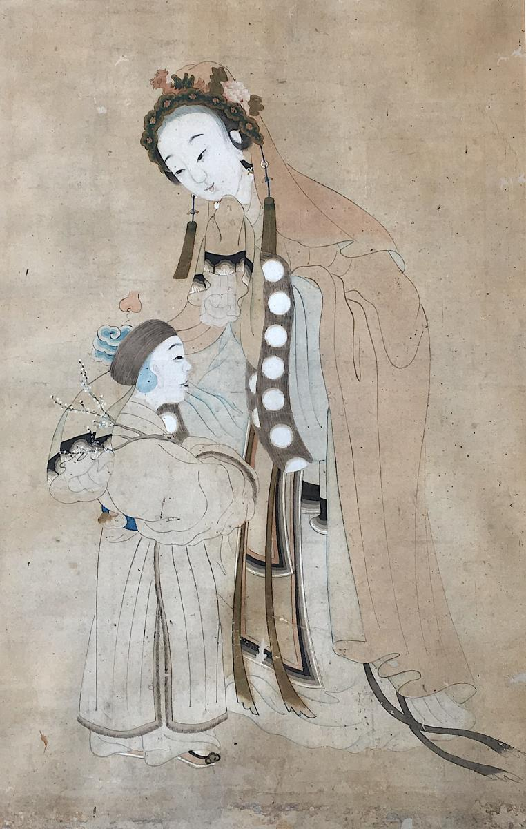 Large Gouache Painting On Paper. Asia, China Or Indochina, 18th-19th Century.