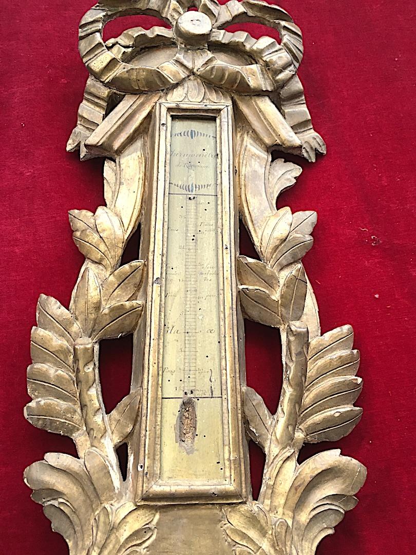 Baromètre En Bois Doré Louis XVI. France XVIIIe Siècle. -photo-4