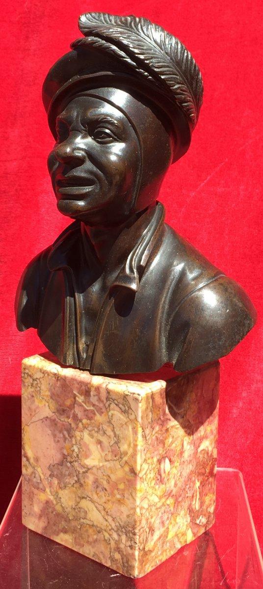 Petit Buste d'Homme En Costume De Cour En Bronze Sur Socle Marbre. France XIXe Siècle.-photo-2