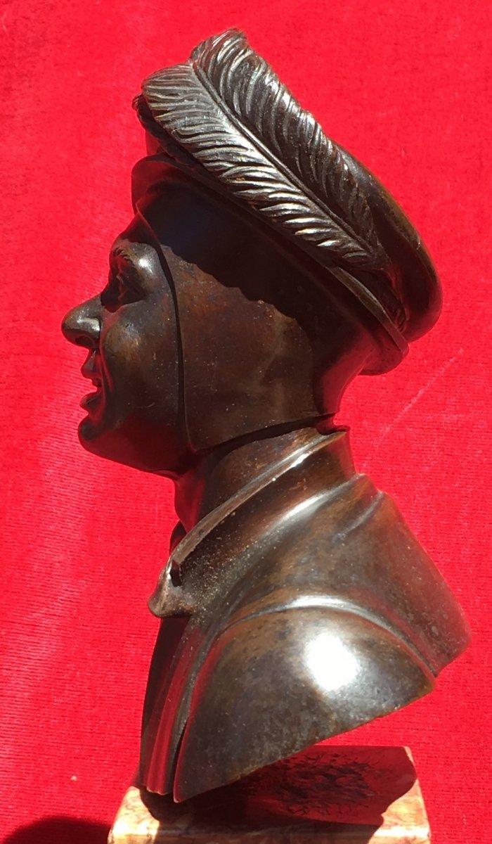 Petit Buste d'Homme En Costume De Cour En Bronze Sur Socle Marbre. France XIXe Siècle.-photo-3