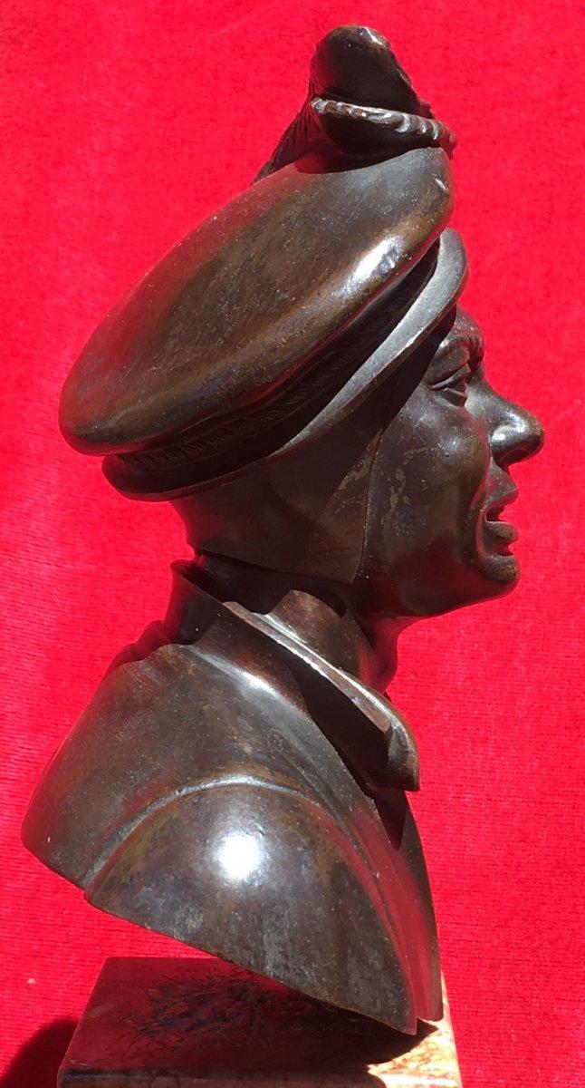 Petit Buste d'Homme En Costume De Cour En Bronze Sur Socle Marbre. France XIXe Siècle.-photo-1
