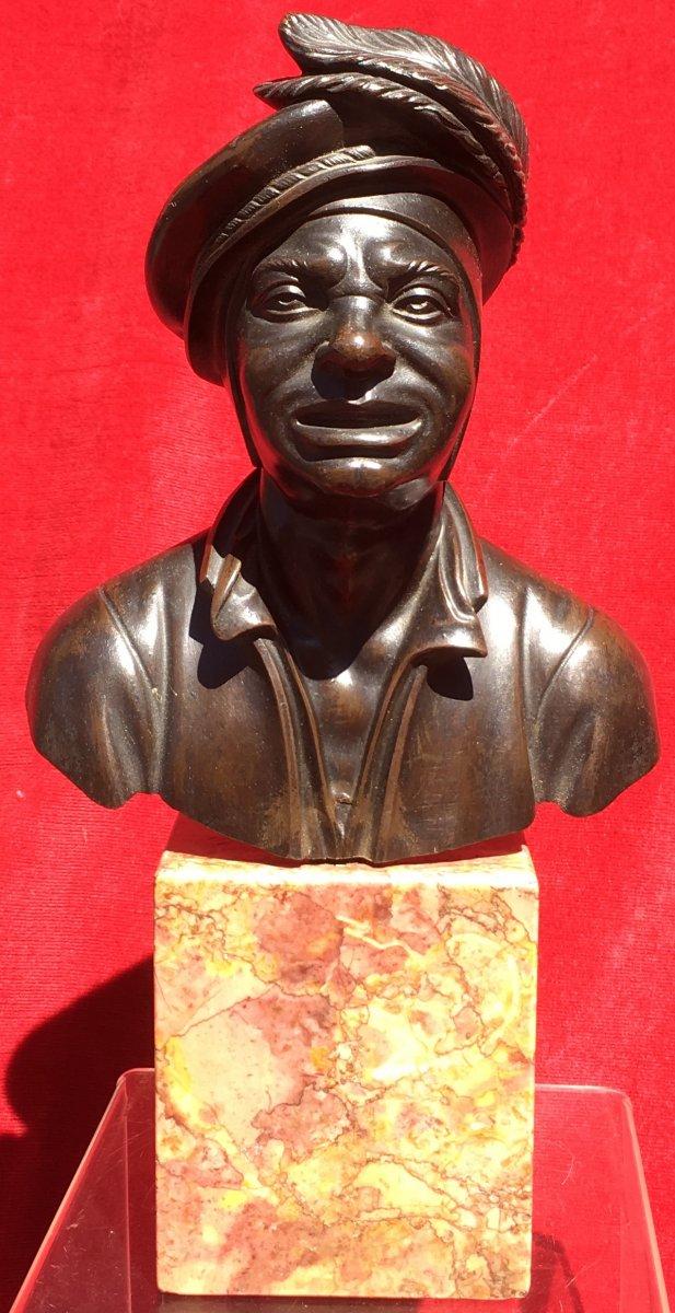 Petit Buste d'Homme En Costume De Cour En Bronze Sur Socle Marbre. France XIXe Siècle.-photo-4