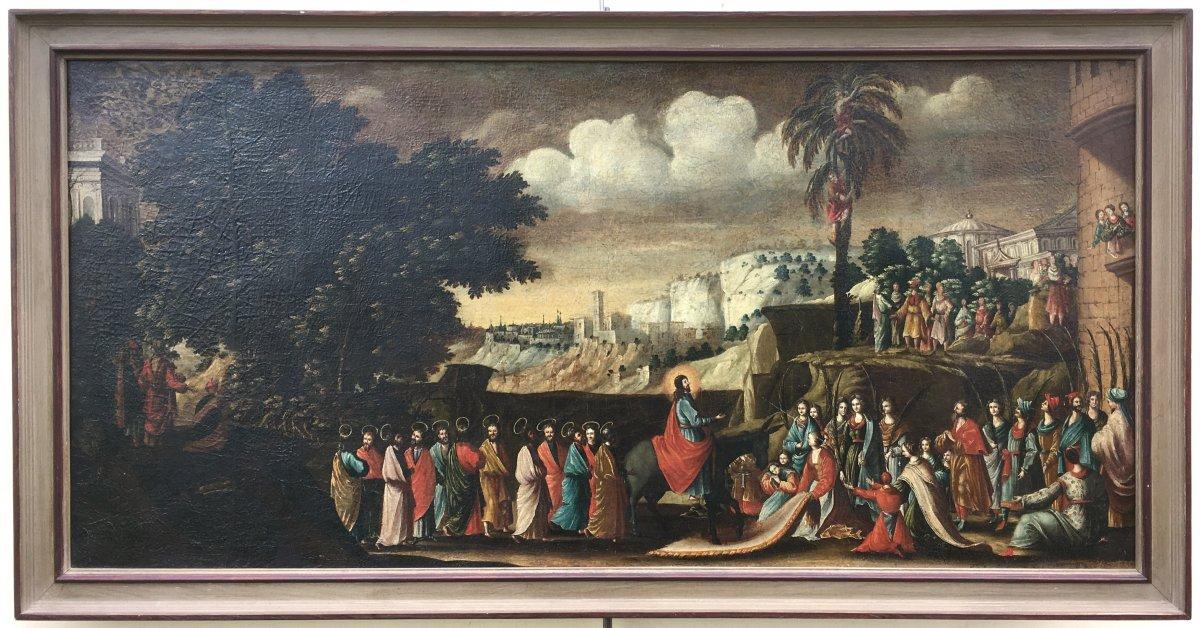Oil On Canvas, Biblical Scene. Christ Entrance To Jerusalem, Palmesel. 17th Century.