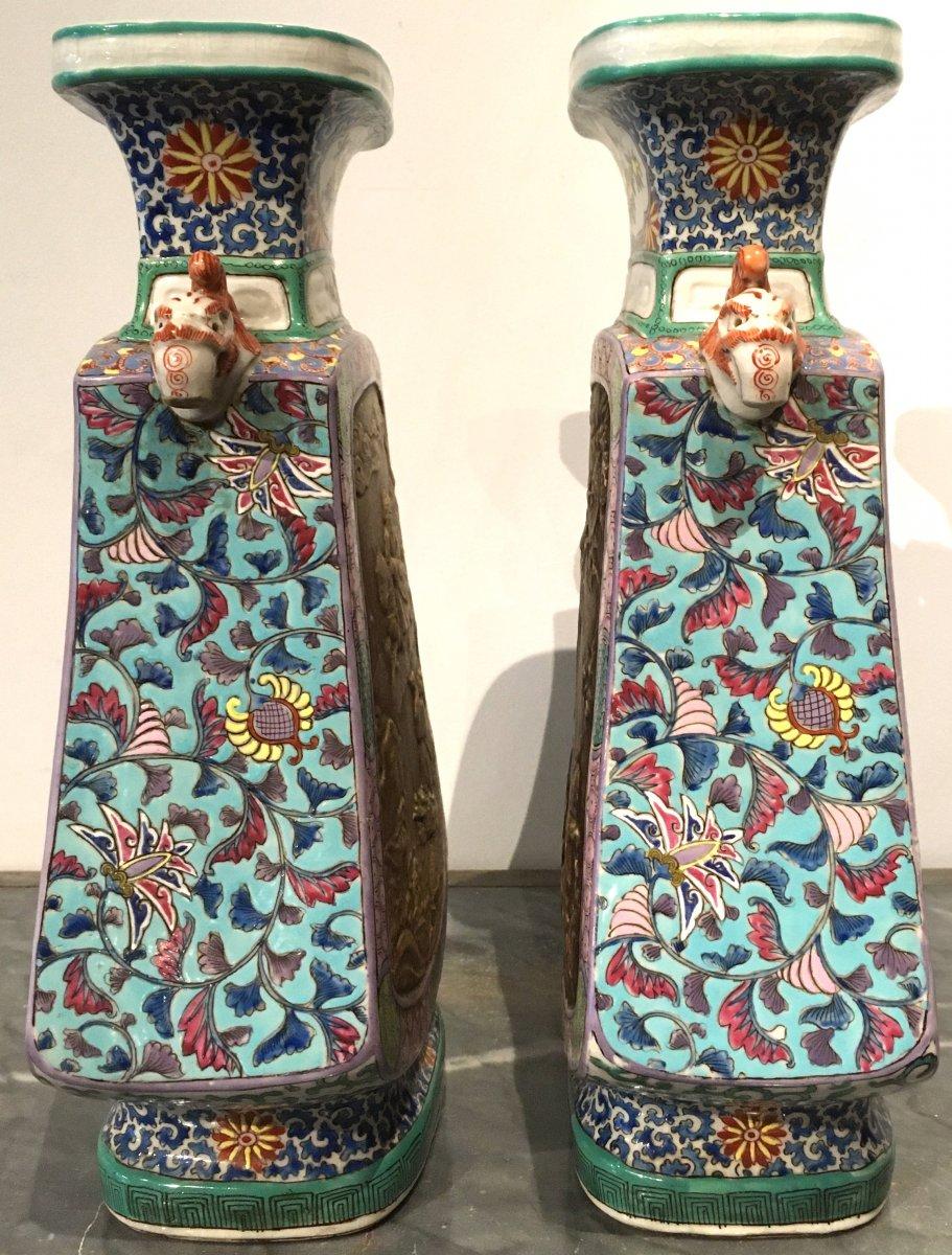 Paire De Vases En Porcelaine De Forme Quadrangulaire. Chine Début XIXe Siècle.  -photo-2