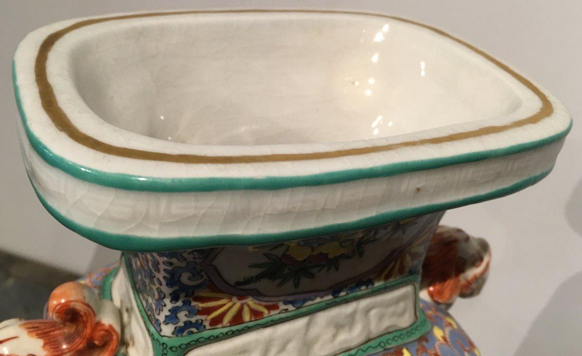 Paire De Vases En Porcelaine De Forme Quadrangulaire. Chine Début XIXe Siècle.  -photo-4
