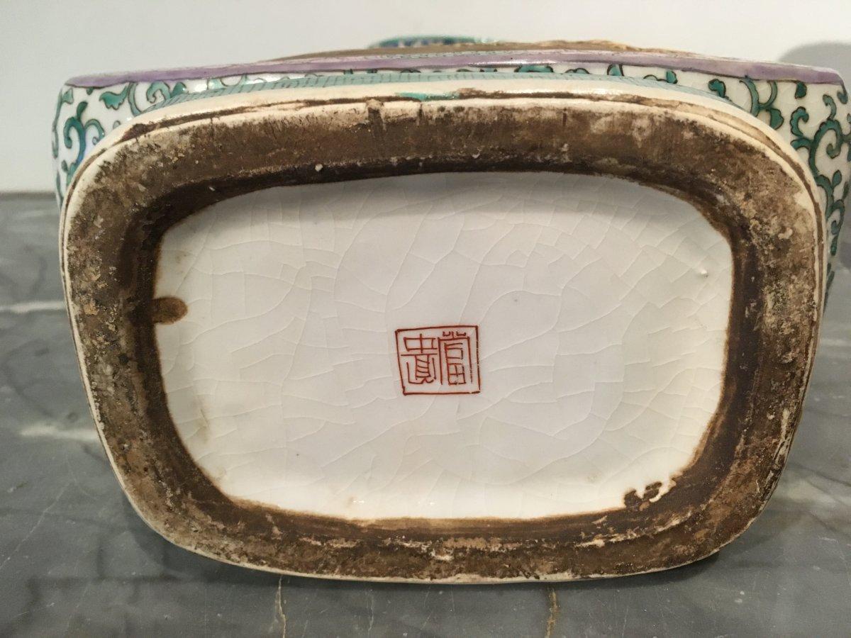 Paire De Vases En Porcelaine De Forme Quadrangulaire. Chine Début XIXe Siècle.  -photo-5