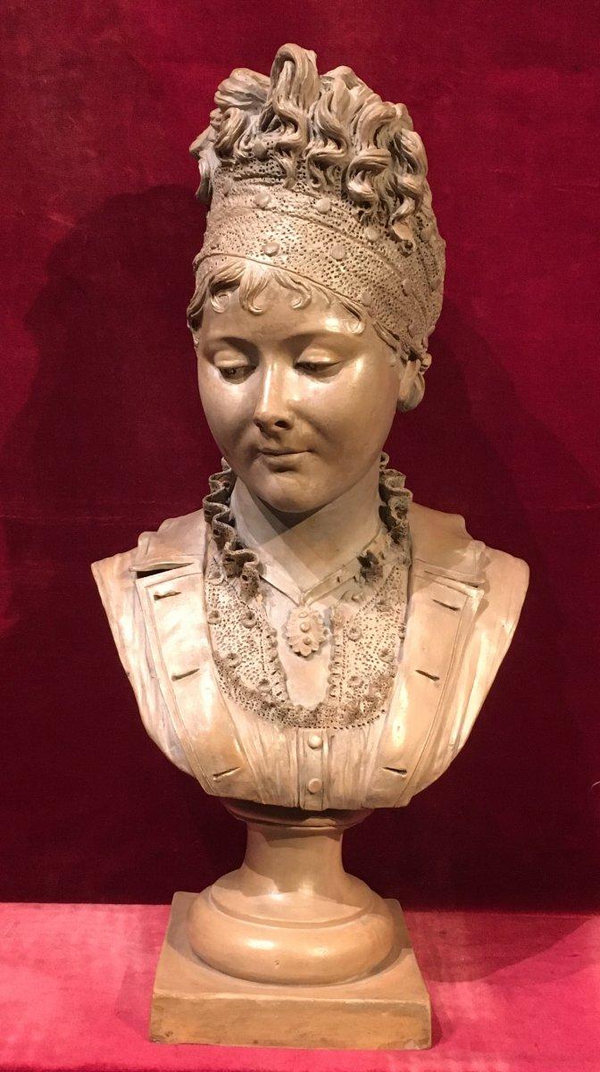 Buste de Juliette Récamier Sur Piédouche. Terre Cuite. Signé Joncery. Début  XIXe siècle.