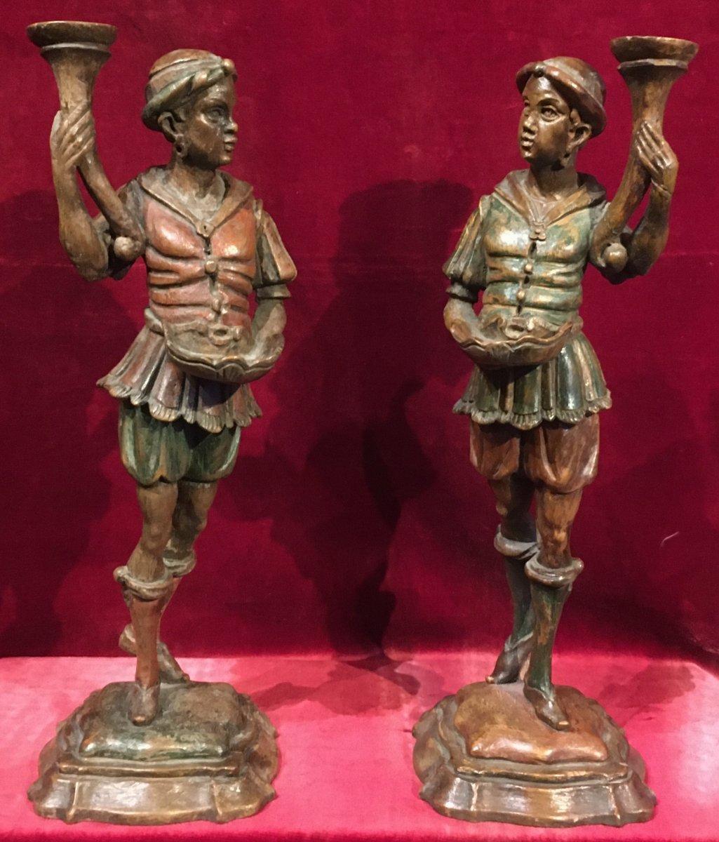 Pair Of Polychrome Wood Sculptures, Numides Torcheres Doors. Venice 19th Century.
