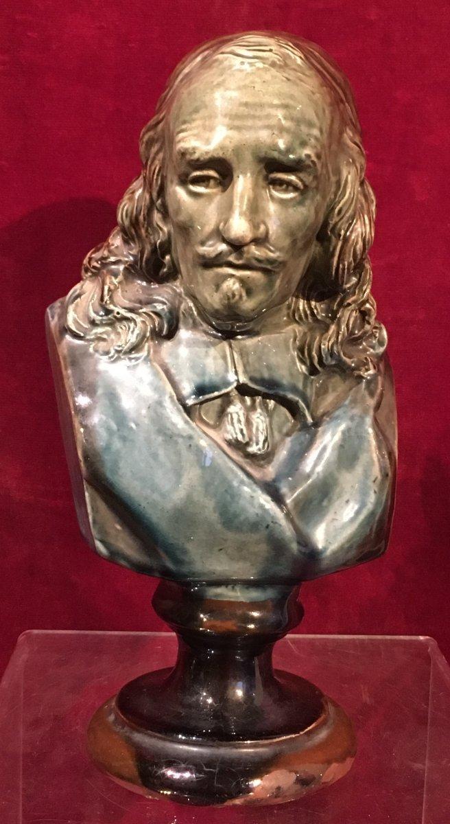 Petit Buste En Céramique De Pierre Corneille. France Fin XIXe Siècle.