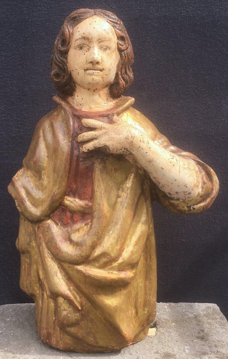 Sculpture Saint Jean Evangéliste, Bois Polychrome Et Doré De Style XVIe. France XXe Siècle. -photo-2