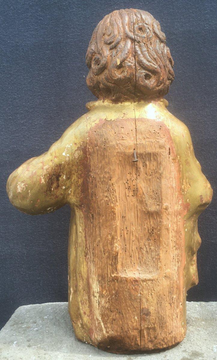 Sculpture Saint Jean Evangéliste, Bois Polychrome Et Doré De Style XVIe. France XXe Siècle. -photo-3