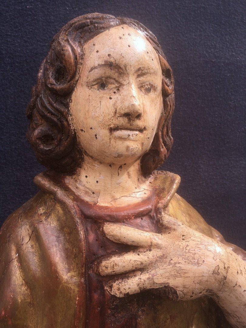 Sculpture Saint Jean Evangéliste, Bois Polychrome Et Doré De Style XVIe. France XXe Siècle. -photo-4