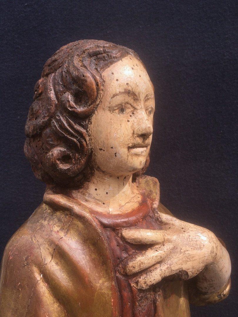 Sculpture Saint Jean Evangéliste, Bois Polychrome Et Doré De Style XVIe. France XXe Siècle. -photo-1