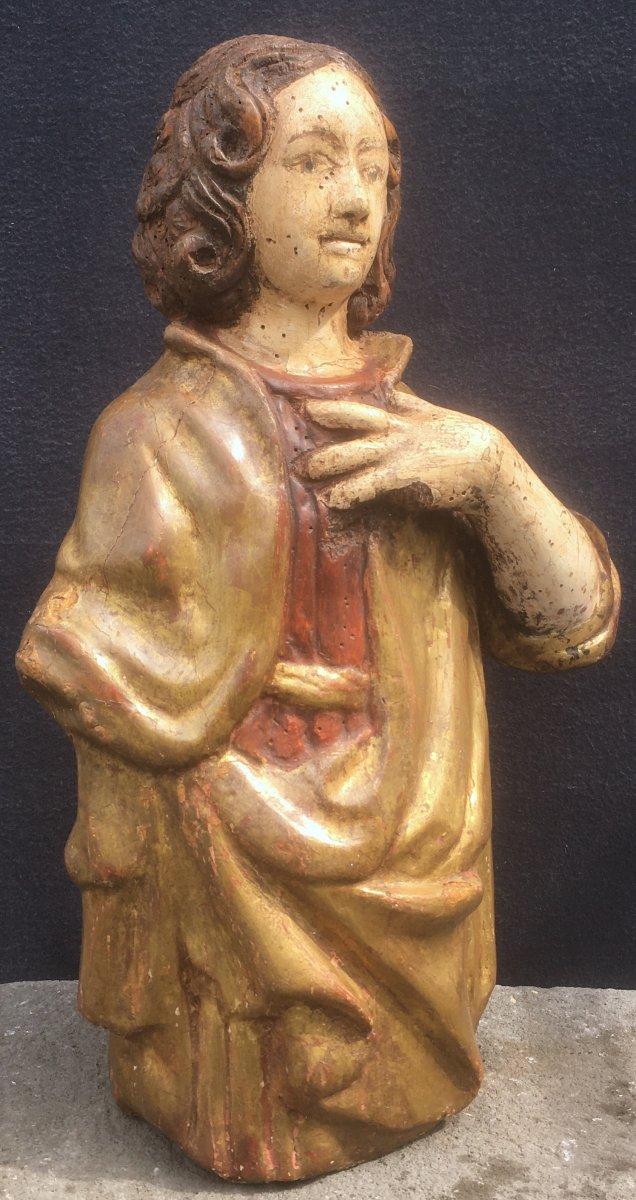 Sculpture Saint Jean Evangéliste, Bois Polychrome Et Doré De Style XVIe. France XXe Siècle.
