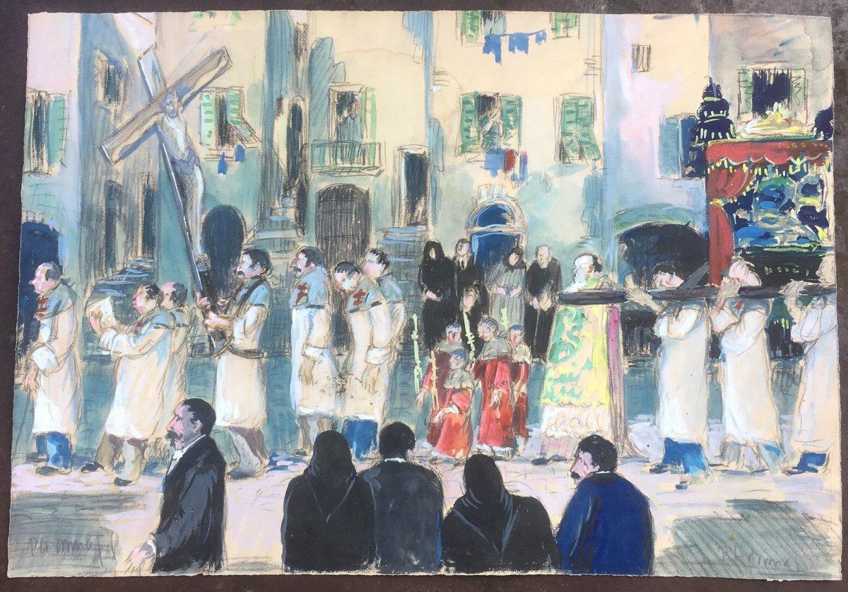 Gouache Sur Papier. Scène De Procession à Bonifacio, Corse Début XXe Siècle.