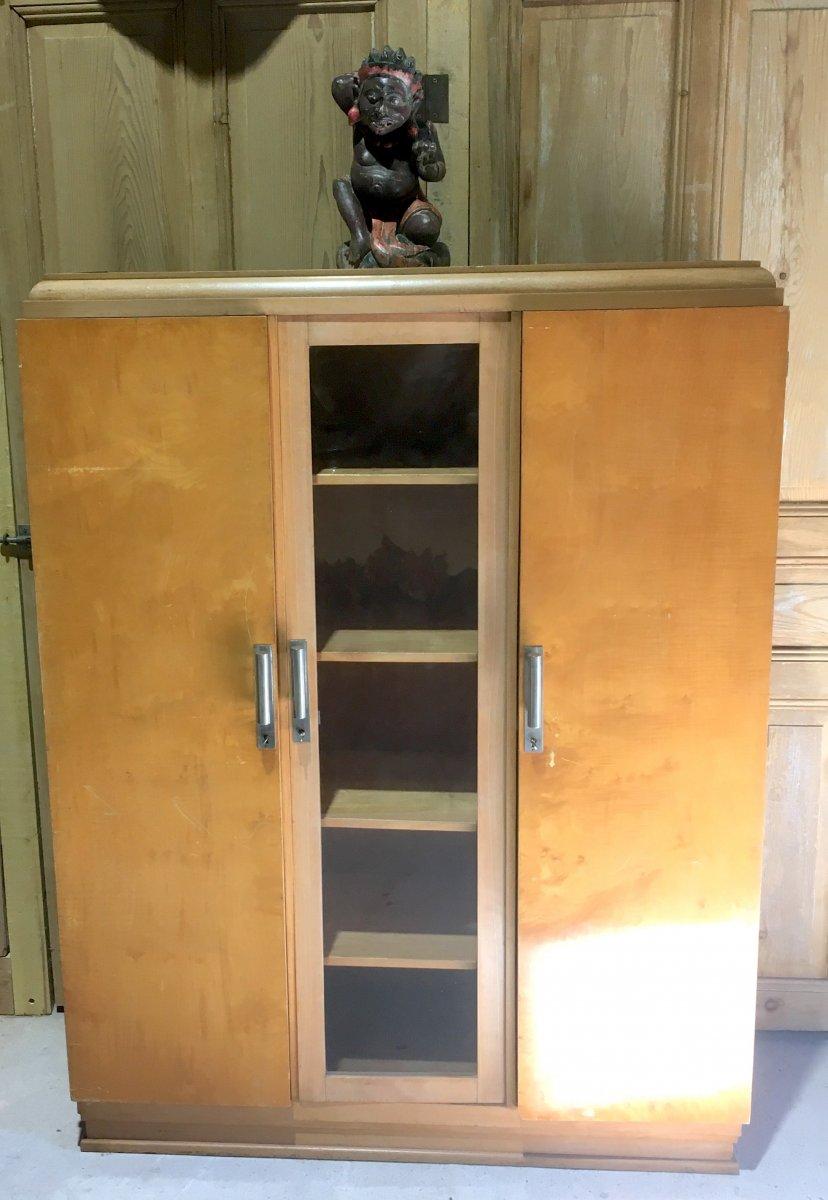 Bibliothèque à Trois Portes En Bois Clair vernis. Design Des Années 1930 - 1950. -photo-4