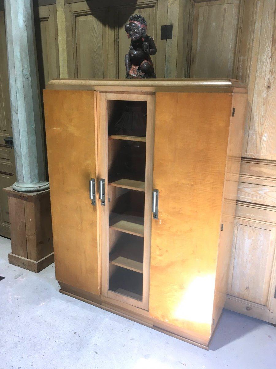 Bibliothèque à Trois Portes En Bois Clair vernis. Design Des Années 1930 - 1950.