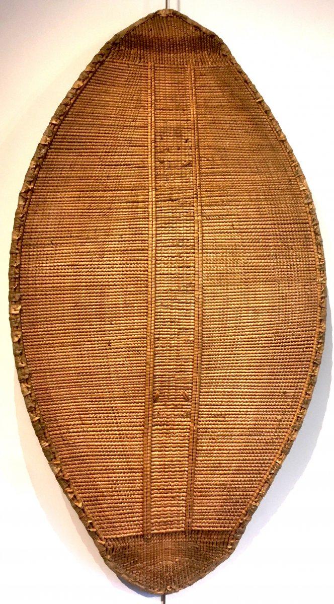 Bouclier en Rotin, bois et peau.  Zandé Manza. Centre Afrique, RDC. Début XXe Siècle.