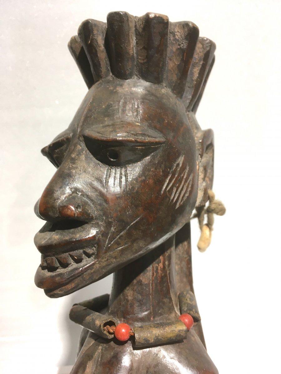 Statuette Féminine Yorouba De Type Ibedji. Nigéria, Bénin Milieu XXe Siècle. -photo-3