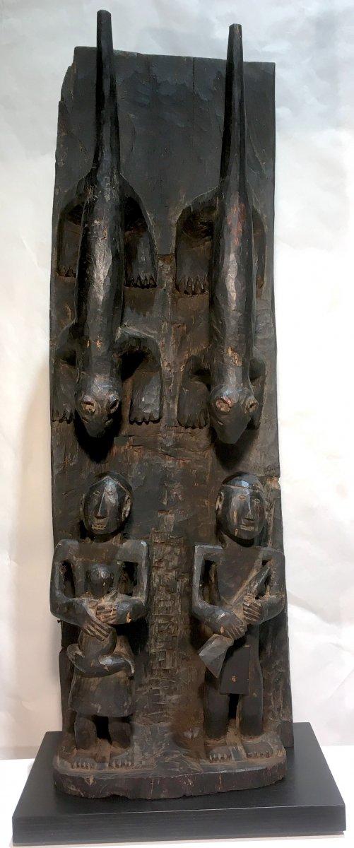 Naga Wood Panel With Dark Patina. Nagaland, India And Burma. Second Half Of The 20th Century.