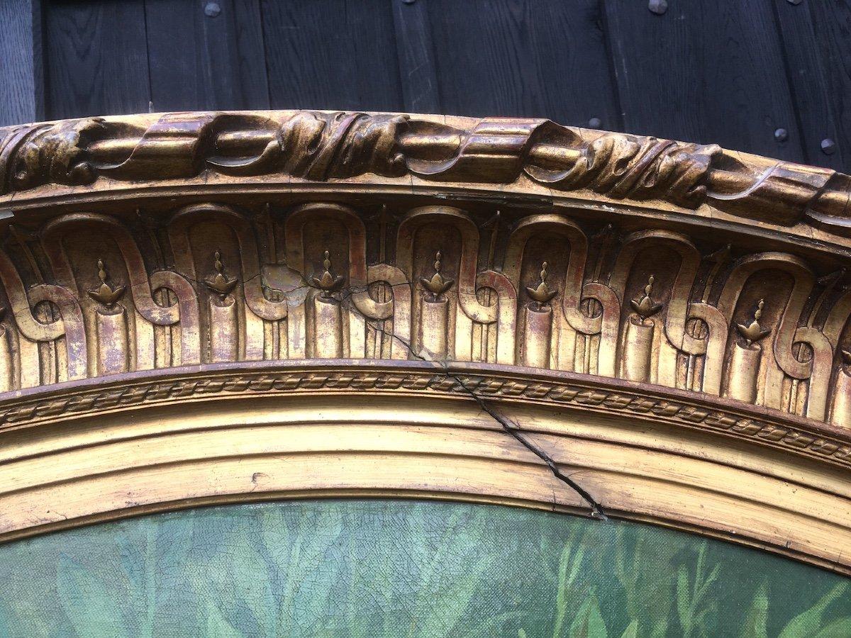 Grande peinture ovale sur toile dans cadre stuc doré. France fin XIXe début XXe.-photo-1