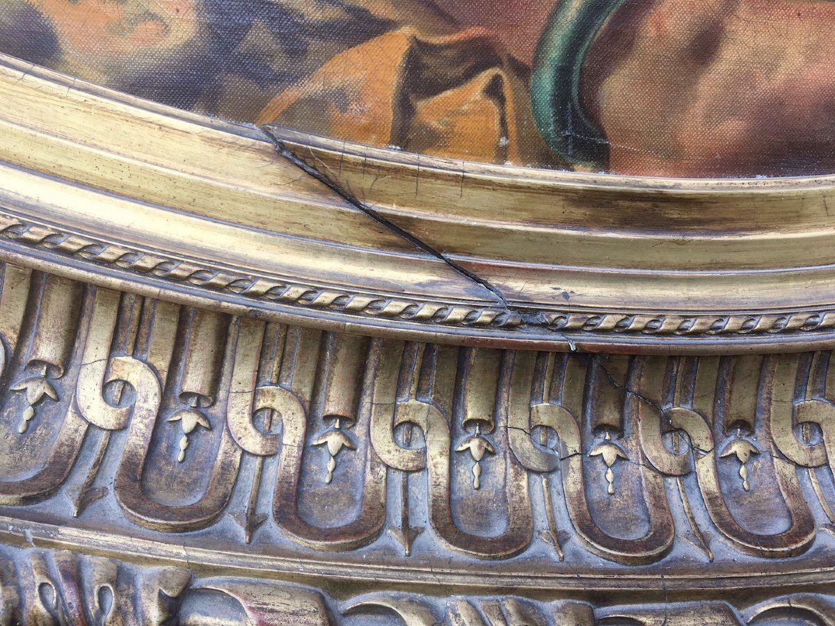 Grande peinture ovale sur toile dans cadre stuc doré. France fin XIXe début XXe.-photo-2