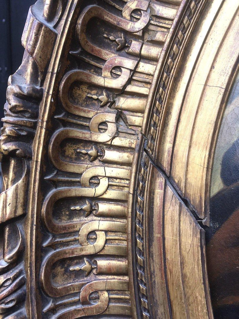 Grande peinture ovale sur toile dans cadre stuc doré. France fin XIXe début XXe.-photo-3