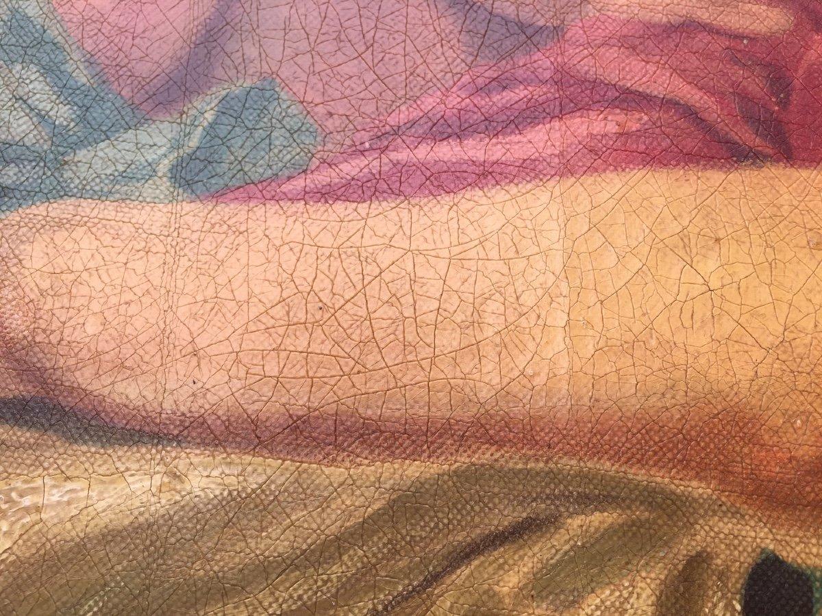 Grande peinture ovale sur toile dans cadre stuc doré. France fin XIXe début XXe.-photo-5