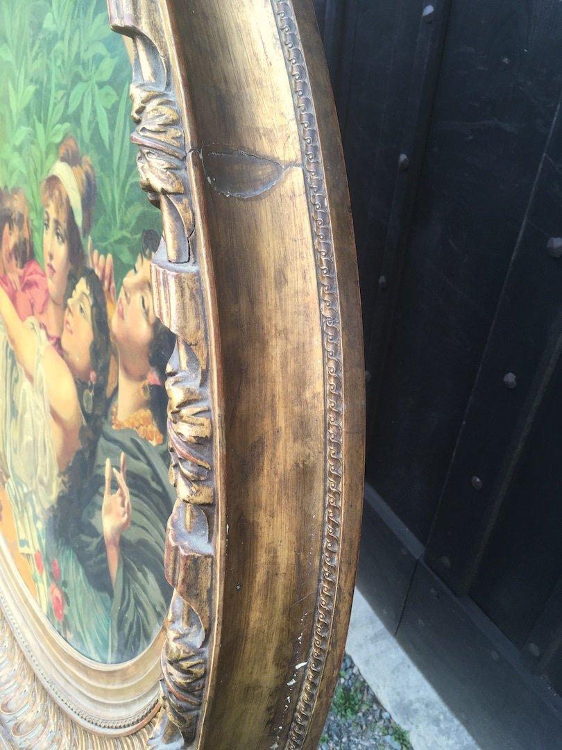 Grande peinture ovale sur toile dans cadre stuc doré. France fin XIXe début XXe.-photo-6