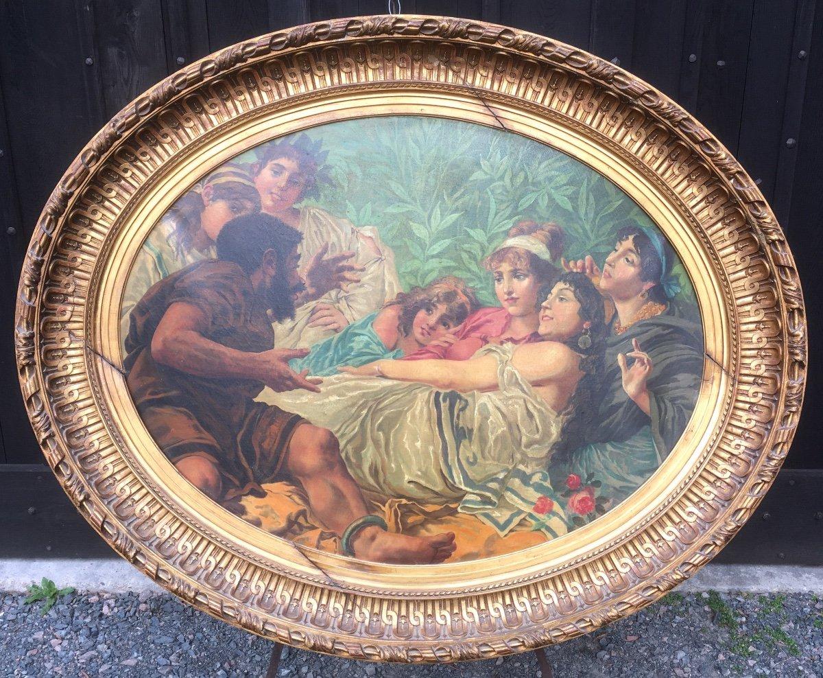Grande peinture ovale sur toile dans cadre stuc doré. France fin XIXe début XXe.