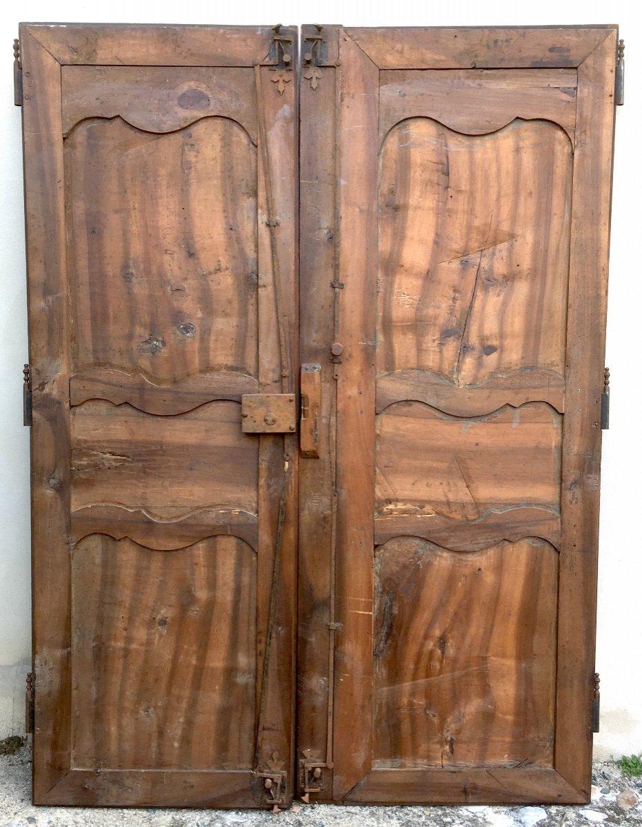 Pair Of Large King Louis XV Walnut Doors. France Mid 18th Century.-photo-4