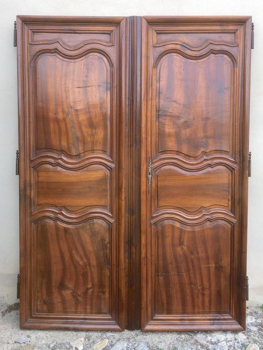 Pair Of Large King Louis XV Walnut Doors. France Mid 18th Century.