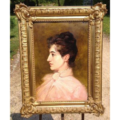 Portrait Of Young Woman. Oil On Canvas. Signed Walter Biddlecombe 1890.