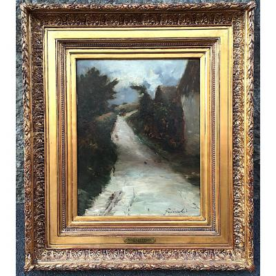 "Oil On Panel ""village Street"" Auvergne By Gagliardini. France Late 19th Early 20th Century."