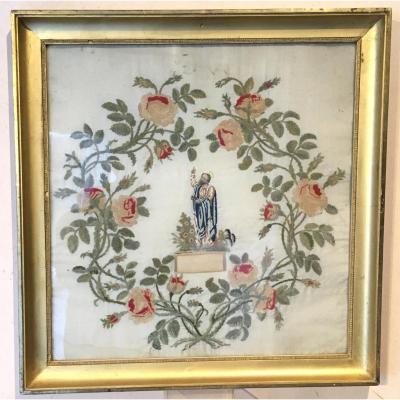 Saint Pierre On Framed Embroidery, Wool And Silk. France Early 19th Century.