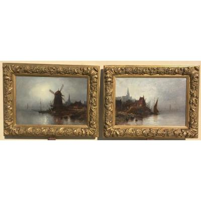 Pair Of Marine Landscapes. Oils On Canvas. Normandy, Picardy. 19th Century.