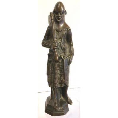 Bronze Chevalier Godefroy De Bouillon Croix Sainte De Jérusalem. France.