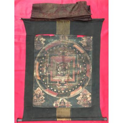 Tangka Mandala, Painting On Canvas In The Tempera. Tibet Or Eastern China 18th Century.