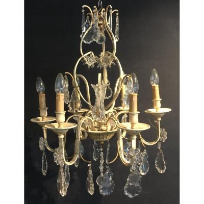 Chandelier With Glass Pendants And Lacquered Iron. France Vintage 1950s.