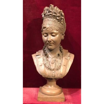 Bust Of Juliette Récamier On Round Base. Terracotta. Signed Joncery. Early 19th Century.