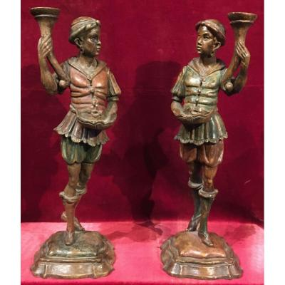 Pair Of Polychrome Wood Sculptures, Numides Torcheres Doors. Venice 19th Century.