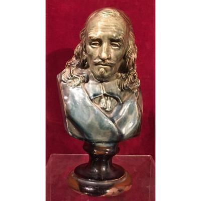 Small Ceramic Bust Of Pierre Corneille. France Late. 19th Century.