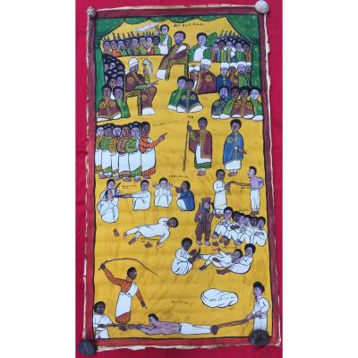 Large Painting On Coptic Canvas, Scene Of Executions. Ethiopia Early 20th Century.