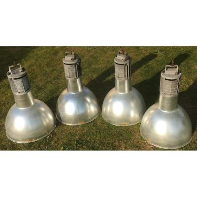Factory Bell Pendant Lights, Aluminum. Vintage Industrial. France 20th Century.