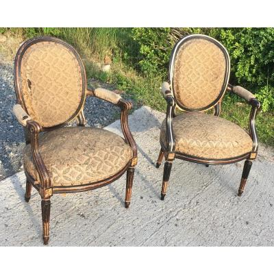 Pair Of King  Louis XVI Cabriolet Beech Armchairs. Lacquered In The 19th. France 18th Century.