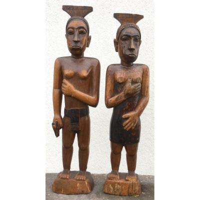 Couple Of Sakalave Statues. Hardwood. Madagascar Around 1930.